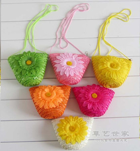 Fashion Cute Wheat Straw Mini Bags With Zipper Crochet Knitting Nature Plant Beach Bags Candy Colors Handbags Women Children Gift F078