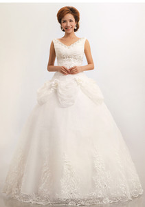 Wholesale new Korean bride lace white V neck floor length Doll collar Sweet Princess Wedding dresses