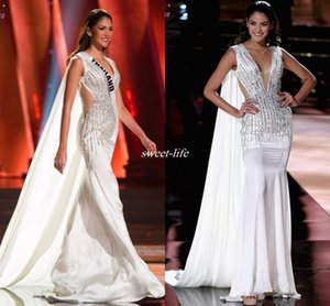 White Miss Universe Pageant Evening Dresses Watteau Sheer Waist V-Neck Beading Crystals Chiffon Sleeveless 2016 Mermaid Celebrity Prom Gowns on Sale