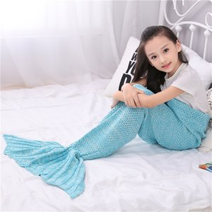 Wholesale Children mermaid blanket fish tail knitted air-conditioned swadding sofa blanket wool birthday blanket 70*140 cm 13 color