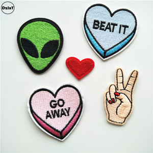 Wholesale Ufo Alien Parches Embroidery Iron on Patches for Clothing Diy Stripes Clothes Heart Stickers Fingers Appliques