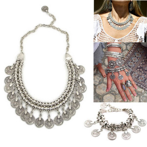 Bohemian Gypsy Love Affair Necklace Bracelet Set Antalya Silver Coin Choker Bib Statement Fringe Turkish Boho India Festival