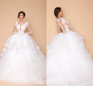 Wholesale Sexy Arabic Sheer Long Sleeves Designer Wedding Ball Gowns Dubai Fashion New Lace Appliques Tiers Puffy Bridal Wedding Party Dresses