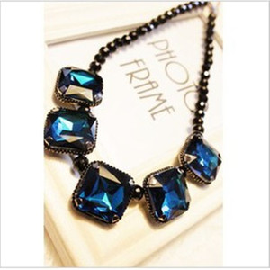 Wholesale Fashion Luxury Colorful Gemstones Chokers Europe Gems Pendant Collar Statement Necklaces Women Ladies Diamond Black Beads Jewelry Necklace