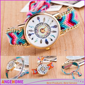 Wholesale Handmade Braided Bracelet Watch Geneva Hand Woven Watch Ladies Women Weave Dress New Fashion peacock feather Quarzt Watch