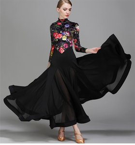 Adult Girls Ballroom Dance Dress Modern Waltz Standard Competition Practice Dance Dress Black Small high collar Flower Printed Dress