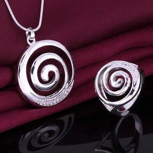Wholesale High grade sterling silver Smooth spiral piece jewelry sets DFMSS629 Factory direct sale wedding silver necklace ring