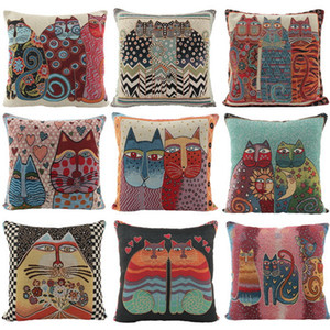 Wholesale Multicolor Designs Cushion Cover New Cat Series Pillow Cover Printed Cotton Pillow Case Cartoon Fashion Cashmere Cotton Pillowcase