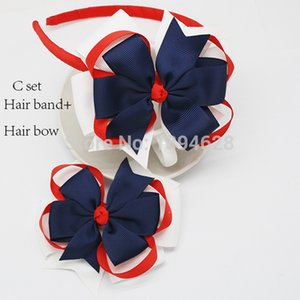 Wholesale 6 Pieces Red White And Navy Bowknot Hairpin Girls Kids th Of July Hair Bands Kids Patriotic Hair Bows Children Hair Accessories