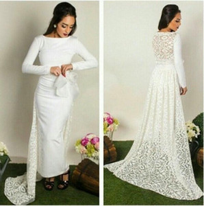 Wholesale Arabic Celebrity Dresses Mermaid Evening Dresses with Crew Neck Long Sleeve Lace Back Sweep Train Prom Dresses Party Gowns