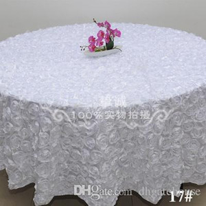 Wholesale tablecloth 3d free resale online - White Fashion Wedding Banquet Table Cloth Round Overlays D Rose Round Tablecloths Wedding Decoration Supplier Colors