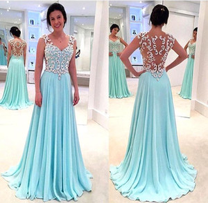 Wholesale Hot Sale Mint A Line Prom Dresses Queen Anne Illusion Back Long Chiffon Evening Gowns with Beaded Crystal