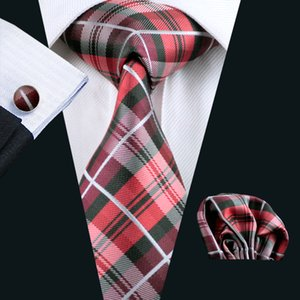 Classic Red Plaid Tie Set Pocket Square Cufflinks Jacquard Woven Formal Silk Business Tie Work Meeting Leisure N-0376