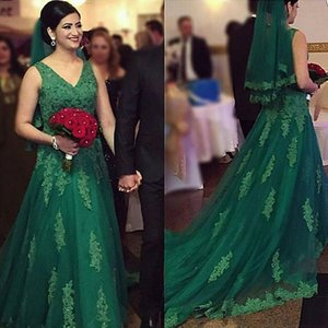 Wholesale Designer Dark Green Evening Dresses Dubai Lace Appliqued With Crystal V Neck A Line Prom Party Dresses Court Train Dress Evening Wear