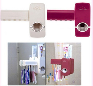 Wholesale NEW Automatic Toothpaste Extrusion Tools Toothbrush Holder Toothpaste Dispenser Touch N Brush Red White colors