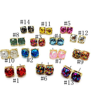 Wholesale Design Square Glitter Diamond Sweet Earring Stud Party Cute Crystal Charm Earring Elegant Earring Fashion Women Jewelry Christmas Gift