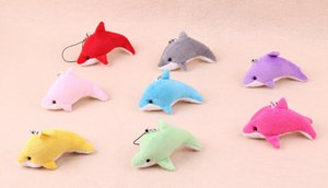 Wholesale New Dolphin Cell Phone Straps Keychain Stuffed Animals Plush Kid Toys Wedding jewelry Birthday gift