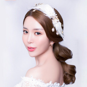 Wholesale Pretty Ballet Swan Lake Headwear White Feathers Headpieces Stage Performance Wings Wedding Bridal Hair Accessories