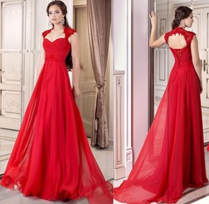 Wholesale Formal Red Evening Gown Corset Chiffon Long Full Length Lace Up A line Prom Dresses Cap Sleeve Open Back Party Gowns