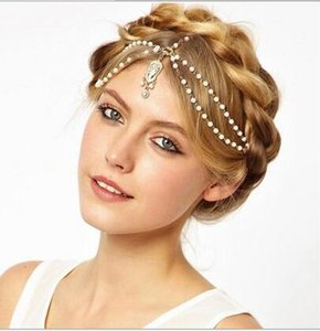 Wholesale Fashion Wedding Bridal Hair Accessories for Women Metal Beaded Pearl Head Chain Indian Hair Jewelry Women Bridal Crown Ornaments HT15