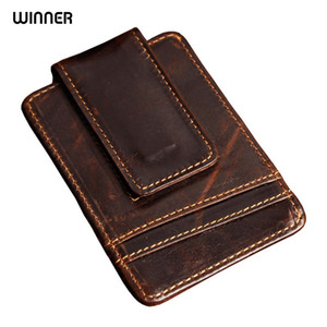 Wholesale Men Money Clips Vintage Genuine Leather Front Pocket Clamp For Money Holder Magnet Magic Money Clip Wallet With Card Id Case