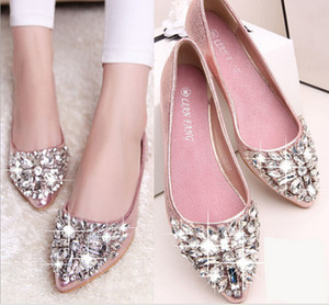 full size Stock 2016 pink champagne wedding shoes silver pointed toe beads crystals bridal shoes special shoes prom girls flats BOOTS