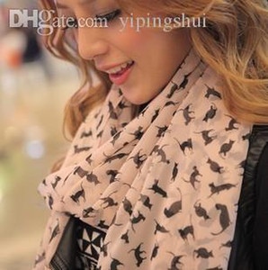 Wholesale new Korean winter long silk chiffon scarf shawl and female cat M220