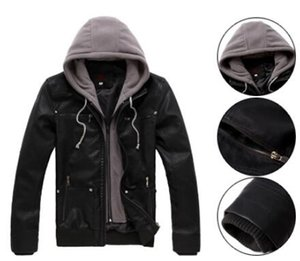 Wholesale New Black THOOO Brand Mens PU Leather Jackets Hoodie Jacket For Mens Good Quality Faux Leather Business Outwwear