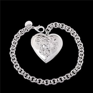 Wholesale Beautiful new design silver photo frame Heart Pendant Bracelet Fashion Jewelry Valentine s Day gift