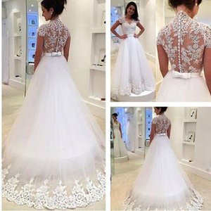 Modest Lace Wedding Dresses New Maternity Women Princess Bridal Gowns Illusion Back Covered Buttons Court Train Spring BA0809