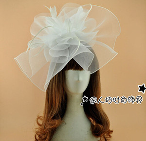 Wholesale 2016 Feather Bridal Hats Hair Accessories Feather Fascinator Hat Sexy Organza White Black Hand Made New Arrive Cheap Modest Sexy