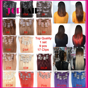"Brazilian Straight Hair Weaves Clip Human Hair Extensions 16""-24"" Brazilian Hair Clip Extensions 13 Colors Available on Sale"