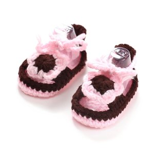 Wholesale Manual Knitting Baby Toddler Soft Bottom New Style Baby Sandals Kids Soft Bottom Toddler Shoes Buckles Crochet Shoes Manual Knitting Sandals