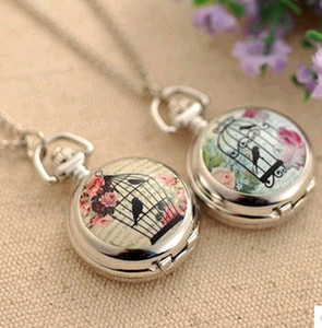 Promotional price!! Silver Birdcage Bird Cage Flower Quartz Pocket Watch Pendant Necklace New Free