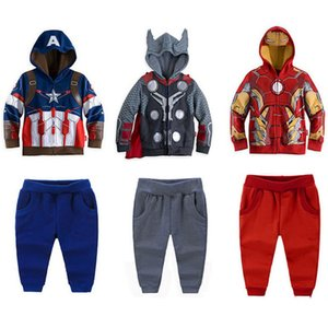 Wholesale Super Hero Baby Boys Hooded Sets Clothing The Avengers Children Cartoon Jackets Outwear Sport Casual Pants Trousers PC Track Suits Thor