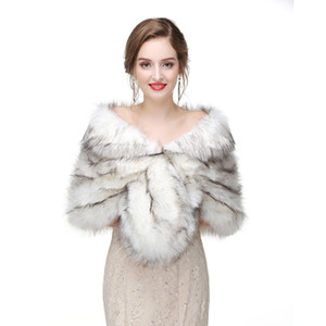 Wholesale 2017 Bridal Wraps Bolero Faux Fur For Wedding Evening Party Prom Jacket Coat Winter White Fur Shawl Wedding