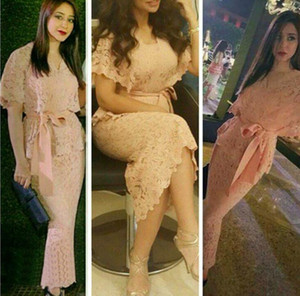 2017 Nude Pink Sweety Full Lace Evening Dresses Female Vestidos De Festa Sheath Prom Gowns V Neck Arabic Pakistani Abaya Short Sleeves on Sale