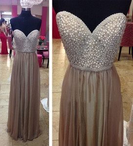 Fashion Party Dresses 2016 Pearls Sweetheart Pleats Gray A line Hot Prom Evening Gowns Custom made on Sale