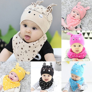 Wholesale Toddler Child Baby Boys Girls Sleep Hat Cap Saliva Towel Triangle Head Scarf Set Lovely hat scarf set