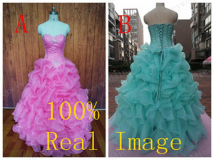 Wholesale Stock Quinceanera Dresses 2019 100% Real Image Crystal Beaded Cascading Ruffles Sweet 16 Ball Gown Dress Prom Dresses Evening Gowns Cheap