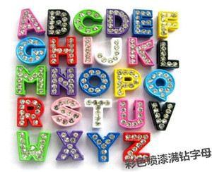 Wholesale 8mm sliding charms resale online - mm Mixed rhinestone slide Letters A Z DIY Charms CZ diamondbead fit pet collar wristband phone chain charms mixedlot