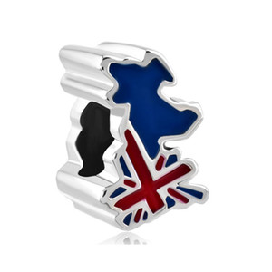 Patriotic Proud To Be British Flag Country Of UK Map country European spacer bead metal charm bracelets Pandora Chamilia Compatible