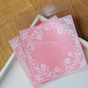 Wholesale Pink roses thank you Self Sealing Wrapping Bags Cookies Snacks Party Favor Gift Wedding Plastic Bag
