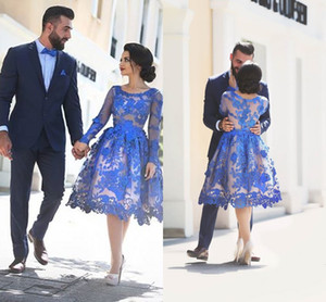 Knee Length Long Sleeves Prom Dresses Saudi Arabic Royal Blue Lace Short Party Dresses Custom Made Plus Size Evening Gowns on Sale