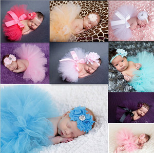 Wholesale Newborn Tutu Clothes Skirt Baby Girls Knitted Crochet Photo Prop Outfits baby girls bubble skirt Headbands Girls Bubble Skirt