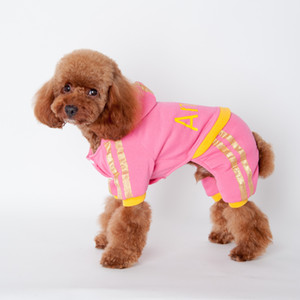 ANGELASHOP black&pink dog apparel sport clothes pet Sweater four feet coat with hat cute ANGEL letter cotton coat