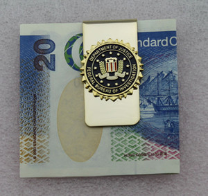 US FBI DEPARTMENT OF JUSTICE METAL BADGE FBI MONEY CLIP