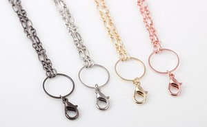 10PCS lot (4Colors For Choise) Long Chains Necklace With Lobster Clasps For Floating Locket Pendant Jewelry Making