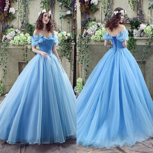 Wholesale Graceful Blue Ball Gown Wedding Dresses Sexy Off Shoulder with Handmade Butterflies Lace-up Back Floor Length Bridal Gowns CPS239