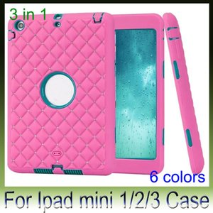 Wholesale Shockproof Bling Diamond Starry Checkered Hybrid Dual Color Layer Armor Heavy Duty Case For Ipad Mini Hard Plastic Soft Silicon